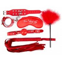 657ш)Б/КОМПЛЕКТ (наручники, маска, кляп, плеть, щекоталка с пухом) цвет красный