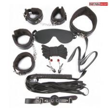683ш) КОМПЛЕКТ (наручники, оковы, маска, кляп, плеть, ошейник с поводком, верёвка, зажимы для сосков) цвет чёрный, PVC, текстиль