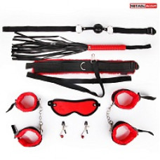 665кш) Набор для бдсм( кляп, наручники, оковы, маска, ошейник с поводком, плеть, зажимы)