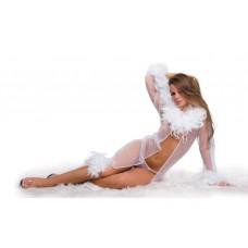 421ш) Пеньюар с перьями и стринги, белый.
