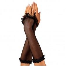 618кш) Перчатки черные, сеточка.
