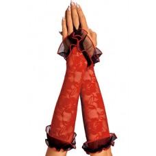 618к) Перчатки красные, с черной окантовкой.