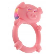 886ш) Кольцо на пенис с вибрацией MAD PIGGY C-RING PINK1
