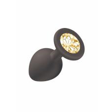 906ш) Втулка анальная, силиконовая, малая, с круглым фиолетовым камнем